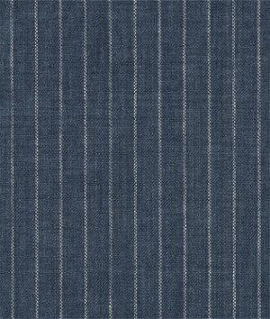 Indigo Pinstripe Chambray Linen Fabric