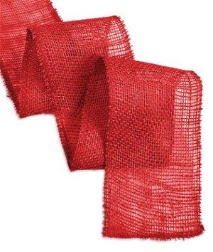 "4"" Red Burlap Ribbon - 10 Yards"