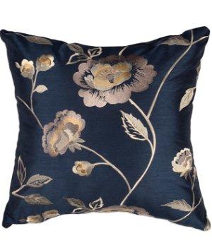 "16"" x 16"" Pretty Flora Navy Premium Decorative Pillow"