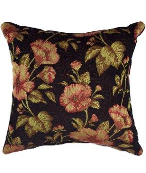 "16"" x 16"" Blushing Tapestry Black Premium Decorative Pillow"