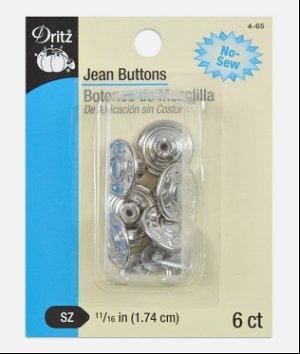 "Dritz 6 Nickel Jean Buttons - 11/16"""