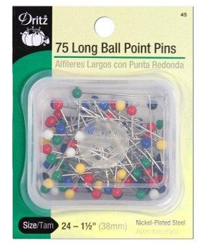 Dritz 75 Long Ball Point Pins - Size 24