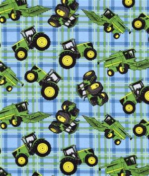 Springs Creative John Deere Tractors on Plaid Fabric