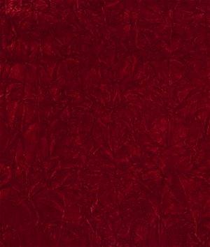 Red Crushed Flocked Velvet Fabric
