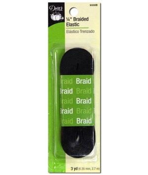"""Dritz 1/4"""" Black Braided Elastic - 3 Yards"""