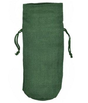 Hunter Green Jute Wine Bags With Drawstrings - 10 Pack