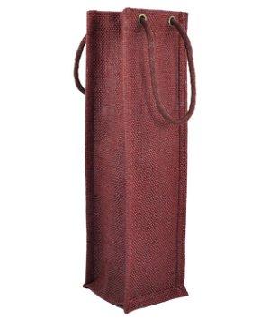 Burgundy Jute Wine Bags With Rope Handles - 5 Pack