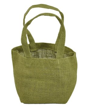 Moss Green Mini Jute Tote Bags - 6 Pack