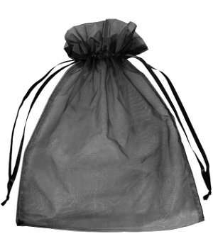 "12"" x 14"" Black Organza Favor Bags - 10 Pack"