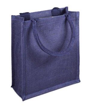 "9"" x 11"" x 4"" Navy Jute Shopping Tote Bag"