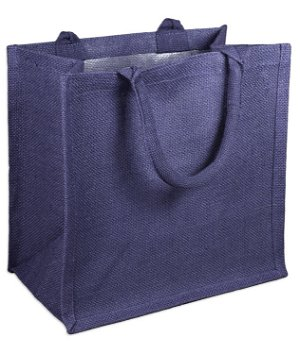 "12"" x 12"" x 7.75"" Navy Jute Shopping Tote Bag"