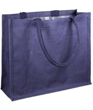 "15.5"" x 13.75"" x 6"" Navy Jute Shopping Tote Bag"