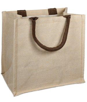 "12"" x 12"" x 7.75"" Jute Blend Shopping Tote Bag"