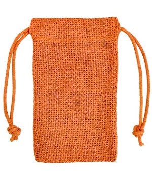"3"" x 5"" Orange Jute Favor Bags - 12 Pack"