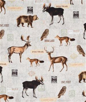 Timeless Treasures Woodland Animals Collage Fabric