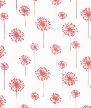 Premier Prints Dandelion White/Coral Fabric