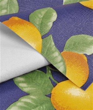 Navy Lemons Flannel Backed Vinyl