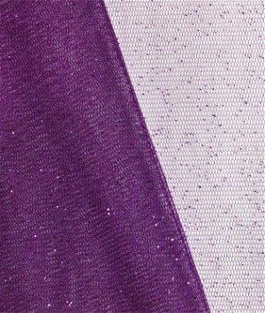 Plum Glitter Tulle Fabric