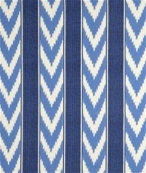 P Kaufmann Outdoor Ikat Stripe Cornflower Fabric