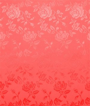 Coral Jacquard Satin Fabric