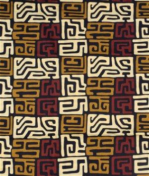 African Kente Abstract Print - Black & Brown