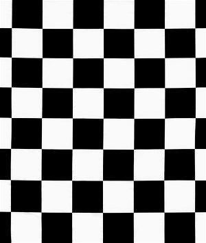 White/Black Medium Checker Matte Satin Fabric