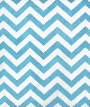 Turquoise/White Mini Chevron Minky Fabric