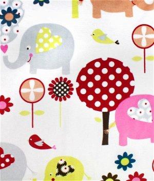 Multi Trees & Elephants Minky Fabric