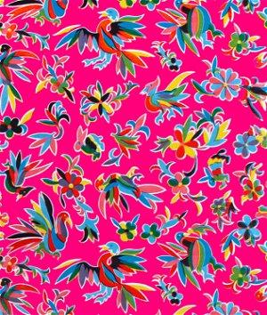 Fuchsia Aztec Oilcloth Fabric