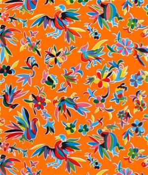 Orange Aztec Oilcloth Fabric