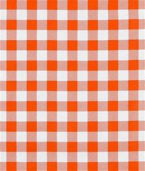 "Orange 7/8"" Gingham Oilcloth Fabric"