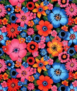 Black Lluvia de Flores Oilcloth Fabric