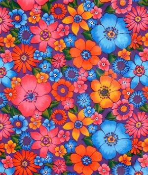 Purple Lluvia de Flores Oilcloth Fabric