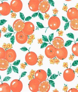 White Oranges Oilcloth Fabric