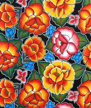 Black Tehuana Oilcloth Fabric