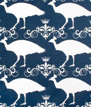 Premier Prints Peacock Premier Navy Slub Fabric
