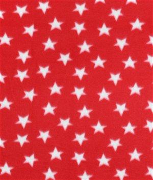 Red & White Stars Fleece Fabric