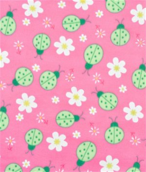 Pink Ladybug Fleece Fabric