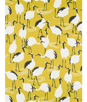 Robert Allen @ Home Winter Crane Golden Rod Fabric