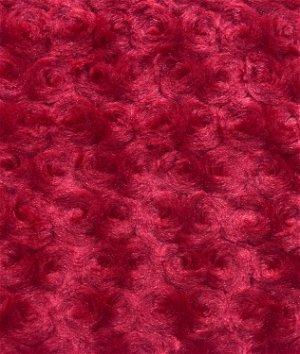 Red Minky Rose Swirl Fabric