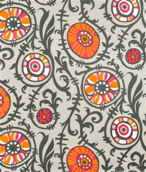 Premier Prints Suzani Vine Sherbet/Gray Twill Fabric