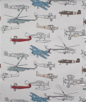 Premier Prints Vintage Air Pewter Natural Fabric