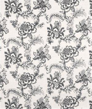 Vintage Paisley Smoke Gray/Ivory Linen Fabric