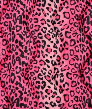 Pink Leopard Velboa Faux Fur Fabric