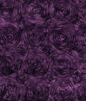 Plum Rosette Satin Fabric