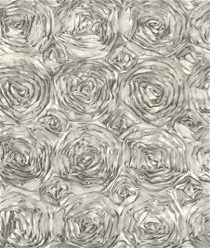 Silver Rosette Satin Fabric