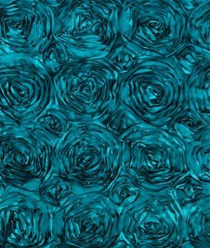 Dark Teal Rosette Satin Fabric