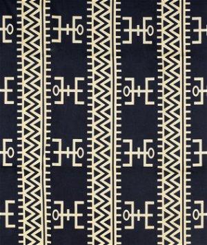 African Geometric Figure Print - Black