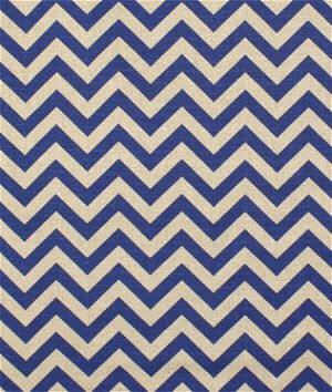 Premier Prints Zig Zag Peacock Blue Denton Fabric